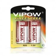 Батарейки 1,5 В VIPOW GREENCELL R20 блістер 2 шт Польща BAT0084B