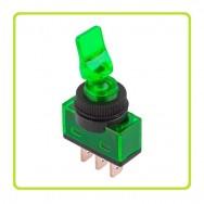 Тумблер з підсвіткою ASW-14D 12В  20А зелений PRK0016D