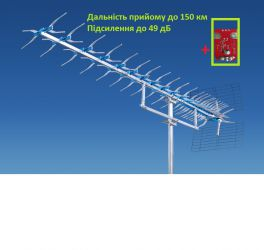 Антена телевізійна, зовнішня, потужна до 150 км ATV 21-69 X / 25 Польща
