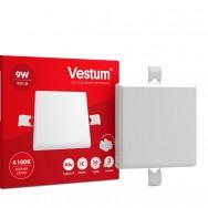 Світильник LED квадратний 90х90 мм, врізний, без рамки  VESTUM 9W 4100K 220V 1-VS-5602