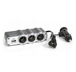 Разветвитель прикуривателя 3 гнезда+USB ZLA0414