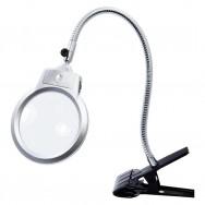 Лупа двойная на гибком держателе MG15122-C +LED