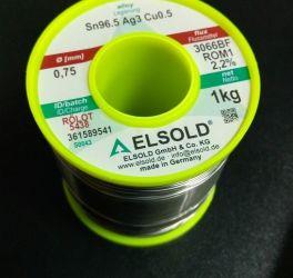 Припой ELSOLD  Sn96,5 Ag3 Cu0,5 1кг, 0,75мм  S0043